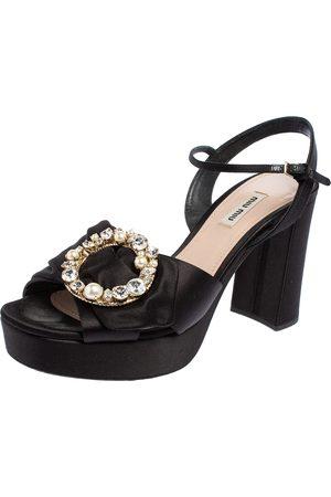 Miu Miu Satin Crystal Embellished Block Heel Ankle Strap Platform Sandals Size 41