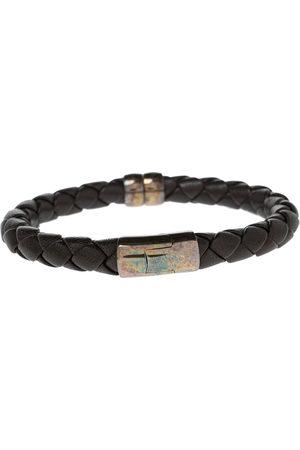 Bottega Veneta Intrecciato Leather Sterling Silver Bracelet