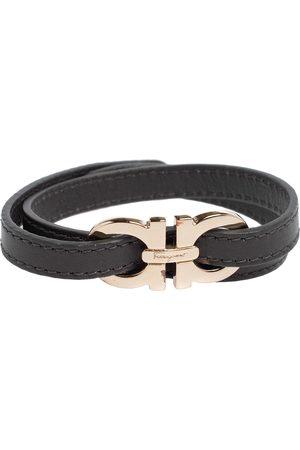 Salvatore Ferragamo Dark Grey Leather Gancini Double Wrap Bracelet
