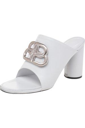 Balenciaga Leather Oval Logo Block Heel Slide Sandals Size 37.5
