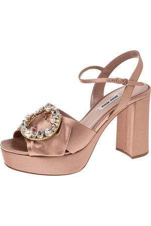 Miu Miu Satin Embellished Platform Heel Sandals Size 38