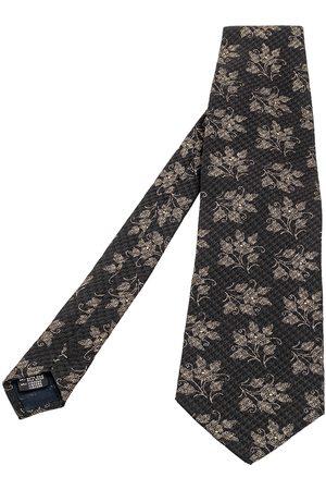 Giorgio Armani Floral Print Textured Silk Blend Traditional Tie