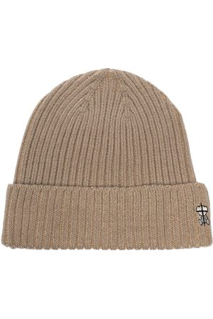 UNDERCOVER Men Beanies - Embroidered logo ribbed beanie - Neutrals