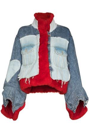 Natasha Zinko Women Denim Jackets - Faux fur denim jacket