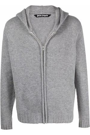 Palm Angels Intarsia-logo zip-up hoodie - Grey