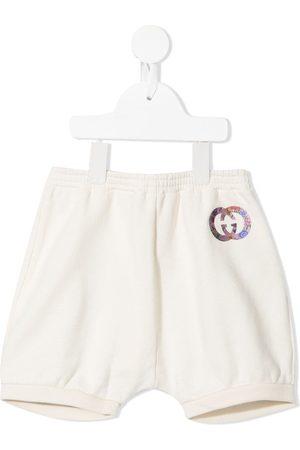 Gucci Kids Interlocking G-print cotton shorts - Neutrals
