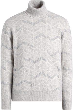 Ermenegildo Zegna Men Sweatshirts - Chevron-pattern jumper - Grey
