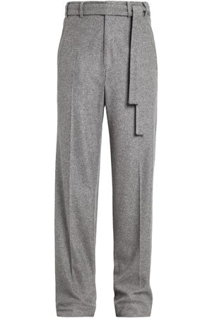 Ermenegildo Zegna Men Wide Leg Pants - Belted cashmere-blend trousers - Grey