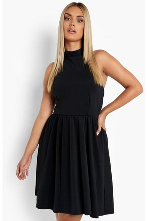 Boohoo Womens Plus Scuba Halter Neck Skater Dress - - 12