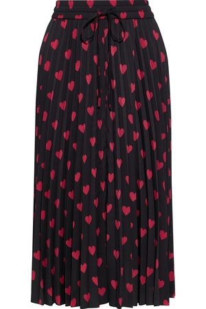 RED Valentino Woman Pleated Printed Crepe De Chine Midi Skirt Size 42
