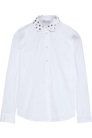 REDVALENTINO Women Long sleeves - Woman Crystal-embellished Cotton-blend Poplin Shirt Size 40