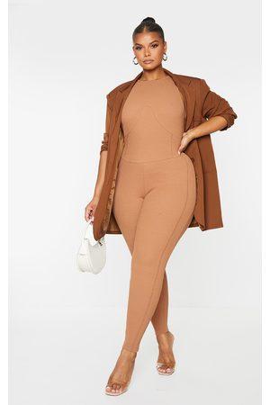 PrettyLittleThing Women Jumpsuits - Plus Camel Contrast Stitch Rib Catsuit