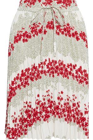 REDVALENTINO Woman Pleated Floral-print Crepe De Chine Skirt Ecru Size 38