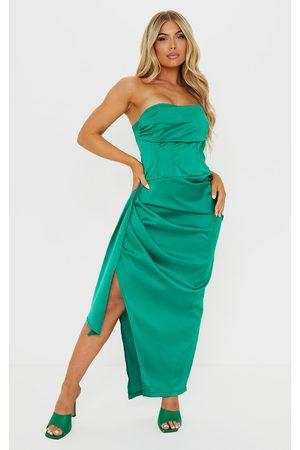 PrettyLittleThing Women Strapless Dresses - Satin Bandeau Gathered Hip Drape Skirt Midaxi Dress