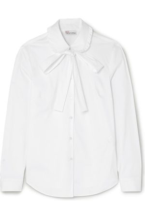 RED Valentino Woman Pussy-bow Cotton-blend Poplin Shirt Size 44