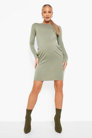 Boohoo Womens Maternity Long Sleeve Basic Jersey Bodycon - - 4