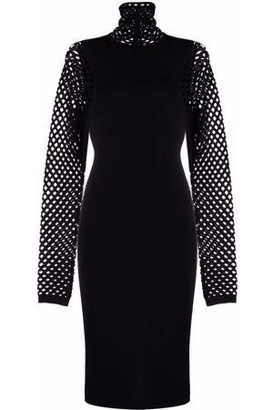 Valentino Open-knit roll-neck dress