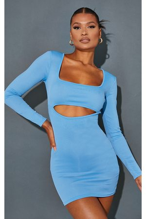 PrettyLittleThing Women Bodycon Dresses - Rib Cut Out Detail Scoop Neck Bodycon Dress