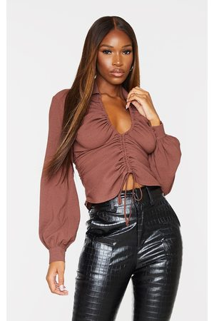 PrettyLittleThing Chocolate Textured V Neck Ruched Long Sleeve Top