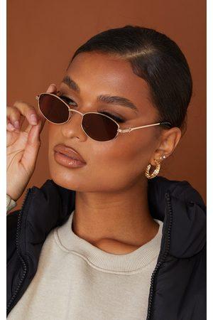 PrettyLittleThing Women Round - Gold Frame Mini Round Frame Sunglasses