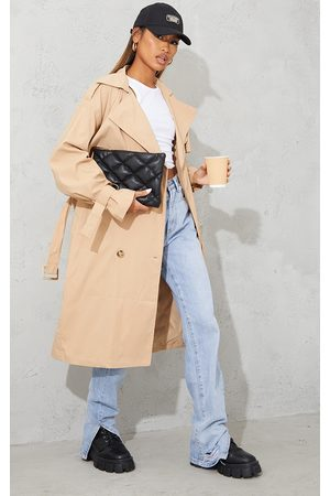 PrettyLittleThing Camel Oversized Belted Midi Trench