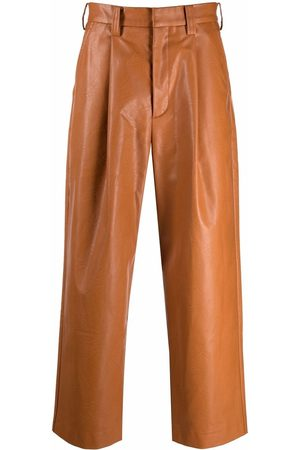 Viktor & Rolf Men Leather Pants - Vegan-leather pleated cropped trousers