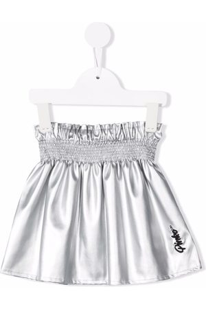 Pinko Kids Embroidered-logo A-line skirt