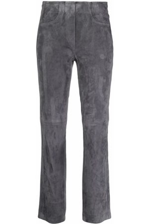 Luisa Cerano Tonal-stitching suede straight trousers - Grey