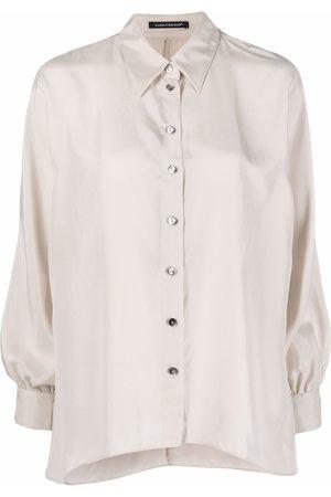 Luisa Cerano Pointed-collar silk shirt - Neutrals