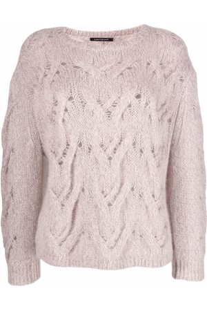 Luisa Cerano Cable-knit ribbed-trim jumper