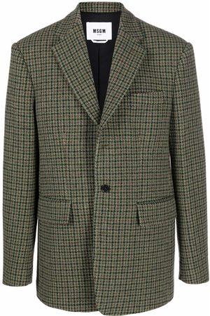 MSGM Men Blazers - Check-print wool blazer
