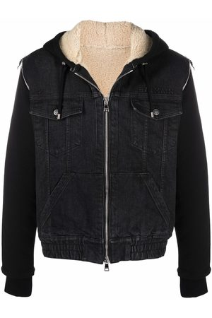 Balmain Panelled hooded denim jacket