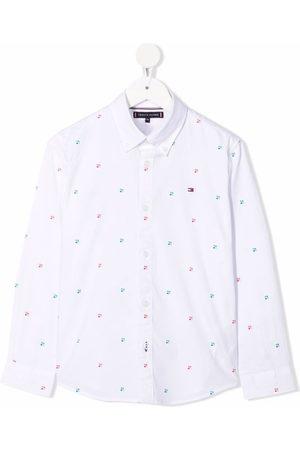 Tommy Hilfiger Junior Monogram-print organic-cotton shirt