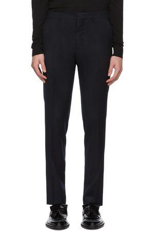 AMI Alexandre Mattiussi Navy Flannel Cigarette Trousers