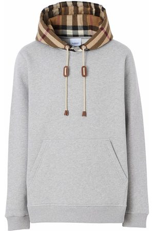 Burberry Check-detail hoodie - Grey