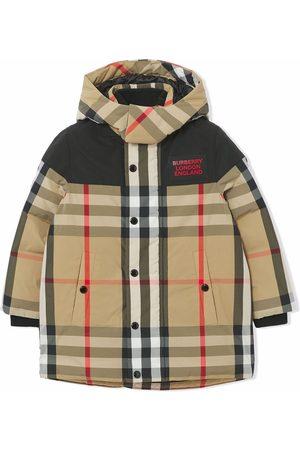 Burberry Boys Puffer Jackets - Vintage Check hooded jacket - Neutrals