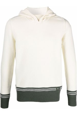 Stone Island Embroidered logo knitted hoodie - Neutrals