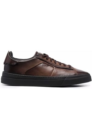 Santoni Faded leather sneakers