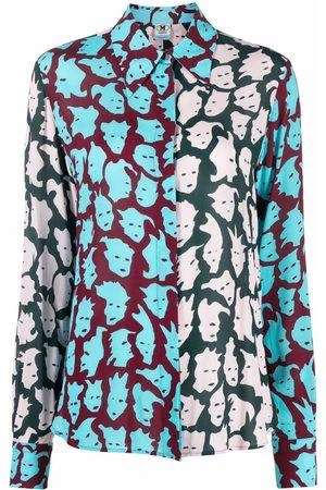 M Missoni Face-print colour-block shirt