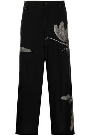 YOHJI YAMAMOTO Leaf-print silk trousers