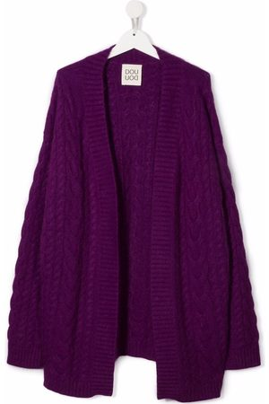 Douuod Kids TEEN cable-knit open-front cardigan