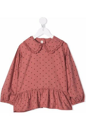 Babe And Tess Girls Blouses - Polka-dot ruffled collar blouse