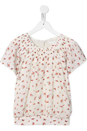 Chloé Girls Blouses - Floral-print cotton blouse - Neutrals