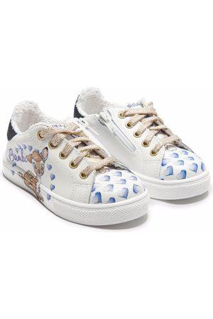 Monnalisa Heart-print lace-up trainers