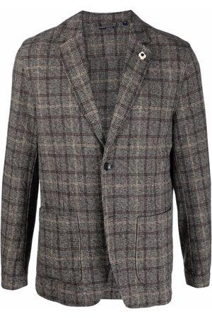 Lardini Checked single-breasted blazer - Grey