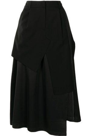Goen.J Layered asymmetric midi skirt