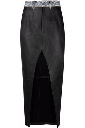 Alexander Wang Women Leather Skirts - Front slit long leather skirt