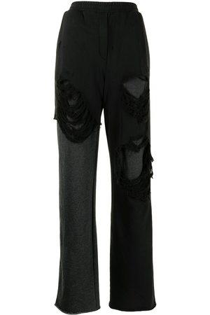 GOEN.J Women Wide Leg Pants - Distressed layered wide leg trousers