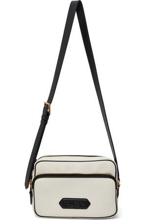 Tom Ford Men Luggage - Off-White Leather Logo Messenger Bag