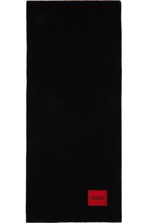 Hugo Men Scarves - Black Wool Ribbed Scarf